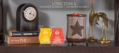 June Scentsy Warmer of the month, Lone Star, along with 2 Scent of the Month fragrances, Summer Sunrise and Summer Sunset. Scent Warmers, Candle Companies, Summer Sunset, Body Spray, Scentsy, June, Fragrances, Sunrise