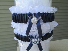 Military Coast Guard Wedding Garter Set - Something Blue Garters.