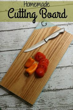 DIY Cutting Board Idea Tutorial. This is a fun and easy craft for the kitchen! Don't you think a pretty dish towel, this handmade cutting board, and a jar of our Wood Butter would make a great hostess gift?