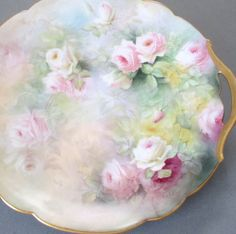 Antique LIMOGES Porcelain HP Charger GORGEOUS Pink + White ROSES w GILT * COBDEN #Limoges