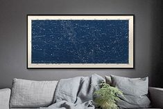 Large Horizontal Blue Constellations Map and Star Chart C...