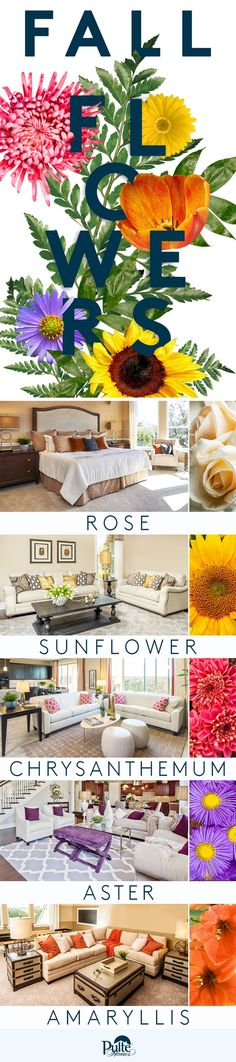 Welcome fall into your home design by adding flowers in rich reds, yellows, oranges and purples that complement the color or your rooms. | Pulte Homes