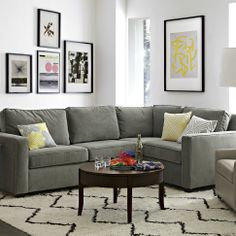 Grey sectional couch with rug
