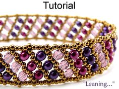 Leaning Flat Russian Spiral Beaded Beaded Bracelet PDF Pattern Tutorial