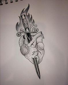Heart and dagger #hearts #heartanddagger #womenwhotattoo #ladytattooers…