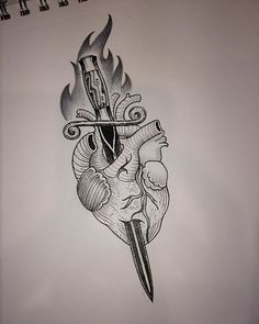 Heart and dagger #hearts #heartanddagger #womenwhotattoo #ladytattooers…