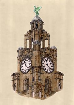 Liver Bird on the Royal Liver Building Liverpool by Gerald Blaikie
