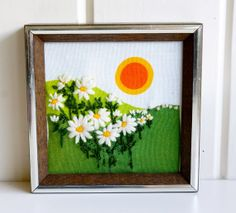 1970s Sun and Daisy Printed Canvas with Emboidered by teakandteal, $10.00