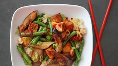 Stir-Fried Eggplant and Green Beans with Tofu and Chili-Garlic Sauce Recipe