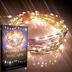 BRIGHTEST Starry Lights By Qualizzi®- 120 Warm White Led's on 20ft Ultra-Thin Copper Wire + FREE e-Book! - Amazingly Bright LED Micro Lights Create Mesmerizing Hanging Garlands - Best Starry String Lights for Fairy Light Effects for Outdoor Patio Decorations. + 110/220v Pw. Adaptor. Works on U.S.A., E.U. and AU.