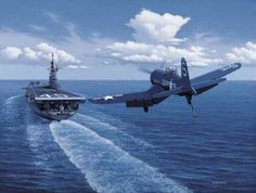 "F-4 Corsair landing on an aircraft carrier near the Phillippines.The Corsair, known as the ""Whistling Death"" to the Japanese and the ""Bent Wing Widow Maker"" to the Marines, was delivered in March 1943 in time to have eight Marine squadrons available for the New Georgia campaign. The Corsair, along with the new F6F Hellcat fighter, dominated the air-to-air battle to sweep the skies of the Japanese. This superiority was enhanced by Army Air Corps aircraft, the Lockheed P-38 Lightning,"