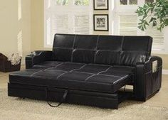 Coaster Fine Furniture 300132 Faux Leather Sofa Bed with White Stiching, Black This casual contemporary sofa bed will be a nice addition to your home, helping Ikea Sofa Bed, Futon Sofa Bed, Sofa Couch, Sofa Furniture, Online Furniture, Furniture Stores, Chair Bed, Sectional Sofas, Bathroom Furniture