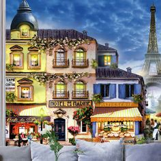 Fotomurales: Paris Calles pintado. #parís #ciudad #arte #decoración #pared #TeleAdhesivo Mansions, House Styles, Home Decor, Famous Pictures, Decoration Home, Manor Houses, Room Decor, Villas, Mansion
