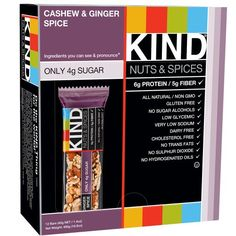 KIND Nuts & Spices, Cashew & Ginger Spice, 1.4 Ounce, 12 Count KIND http://www.amazon.com/dp/B007PE7ANO/ref=cm_sw_r_pi_dp_oH11vb0SKX9R3
