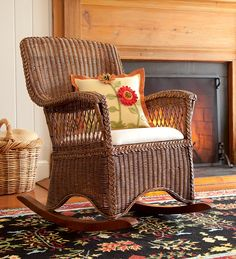 Classic Wicker Rocking Chair With Seat Cushion