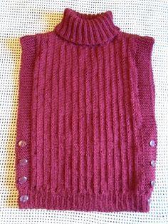 : Colete em Tricô com Gola Alta e Abertura do Lados com Botões. Free Childrens Knitting Patterns, Knitting Machine Patterns, Knitting Stitches, Baby Knitting, Crochet Poncho, Html, How To Knit, Wool Vest, Tricot Crochet