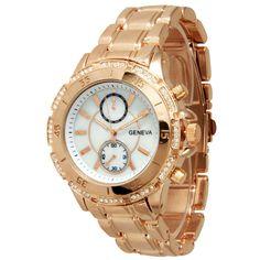 Olivia Pratt Tachymeter and Rhinestone Bezel Bracelet Watch