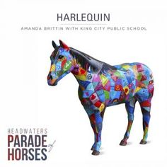 Presenting the Headwaters Parade of Horses, a whimsical and unique series of outdoor horse sculptures featuring 26 fiberglass horses transformed through the creativity of talented artisans.