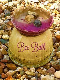 Herbal Gardening Ideas Catmint and bee baths make a fantastic couple! - Catmint and bee baths make a fantastic couple! Garden Crafts, Garden Projects, Garden Art, Garden Globes, Bee Skep, Bee Friendly, Save The Bees, My Secret Garden, Bees Knees