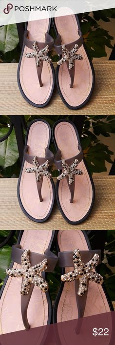 b07632d20715 Nine West Star Fish Crystal Flip Flop Jelly Sandal Super cute crystal  starfish thong sandals.