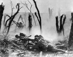 American soldiers advancing towards German positions at the Battle of the Argonne, circa 1918