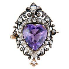 1890 Victorian Diamond & Cabachon Amethyst Heart Brooch Pendant