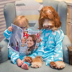 Hey, Little Buddy, read me that article about a dog and his toddler best friend who dress alike. ❤️ . Thank you, @peoplemag for the feature!! #weareinpeoplemagazine