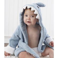 Baby Aspen Let the Fin Begin Terry Shark Robe Hooded 0-9 Months 212af024d