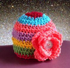 Rainbow flower crochet baby hat