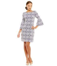 Jessica Howard 3/4 Flutter Sleeve Shift Dress #Dillards