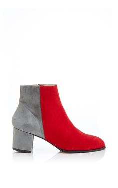 sold out in my size - find something simillar???  Ana Ankle Boot In Red And Grey Suede by CARMELINAS Now Available on Moda Operandi