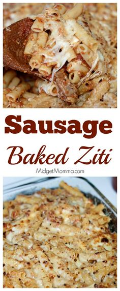 Sausage Baked Ziti. Perfect for dinner, just make this, add some salad and some fresh bread and dinner is done. Sausage Baked Ziti made with homemade sauce.
