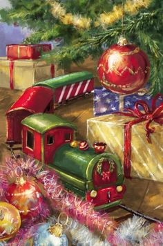 Christmas Train by Marcello Corti Christmas Train, Old Christmas, Old Fashioned Christmas, Christmas Scenes, Christmas Greetings, Christmas Crafts, Christmas Decorations, Christmas Express, Illustration Noel