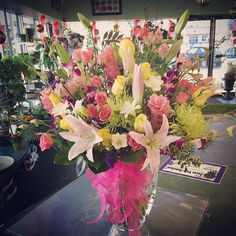 #beautiful #big arrangement!!! #roses #lilies #orchids #ginger #fuji , Wouldn't you feel so special if this showed up at your door?! #WOW #yeg #instagood #instadaily #beauty #pretty #springy #flowerstagram #flowerslovers #flowershop #bunchesflowers