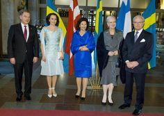 Queen Silvia of Sweden, Queen Margrethe of Denmark and King Carl Gustaf of Sweden at Stockholm Concert Hall on April 21, 2015 in Stockholm, Sweden.