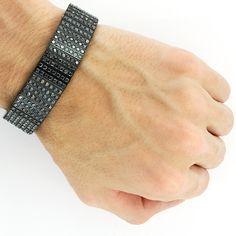 Black Diamond Jewelry for Men: 7 Row Black gold Bracelet 26.40ct