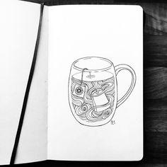 Bullet journal drawing idea, tea drawing, fineliner. @_tomaartje_