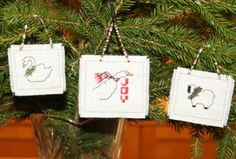 Animal Cross Stitch Christmas Ornaments Set of 6 Handmade