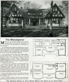 1916 Sterling Homes: The Manseigneur (nice style.but not small enough.and I don't think I'll need the maids room -L) Bungalows, Building Plans, Building A House, The Plan, How To Plan, Sterling Homes, Vintage House Plans, Vintage Homes, Stucco Homes