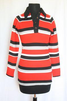 Vintage 1970s Polyester Red White & Black by VarietyVintagebyALD, $18.50
