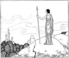"""At a distance he beheld stately towers. 'Circe's Palace' from """"Tanglewood Tales"""" (1921) illustrated by Virginia F. Sterrett"""