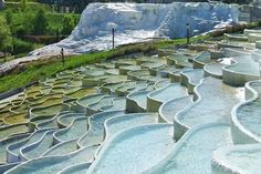 Top view of the salt hills in Egerszalók, northern Hungary - as well as naturally forming these fantasy structures, these thermal waters are medicinal. Beautiful World, Beautiful Places, Amazing Places, Hungary Travel, Heart Of Europe, Pamukkale, Budapest Hungary, Natural Wonders, Places To See