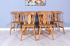 6 x SOLID BEECH FIDDLE BACK FARMHOUSE KITCHEN CHAIRS Kitchen Chairs, Dining Chairs, Pine Furniture, Farmhouse, Top, Home Decor, Decoration Home, Room Decor, Kitchen Stools