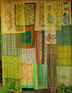 Gypsy Curtains, handmade with scraps of vinatge fabrics, old saris, etc. Gypsy Curtains, Vintage Curtains, Scarf Curtains, African Room, Gypsy Decor, Global Style, Colorful Curtains, Hippie Bohemian, Wild Hearts