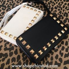 Studded Clutch Wallet for iPhone 5 5s - Black or White Faux Leather - Gold Studs- $25.00