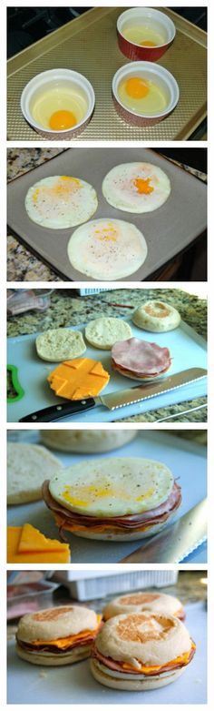 Freezer Breakfast Sandwiches to try: Modifications: Scramble the eggs or use just egg whites  Add chopped bell peppers, onions and mushrooms  Use light high fiber English muffins  Low fat singles Ham! Very excited to try these