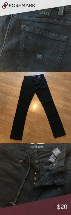 Black KREW DENIM pants button fly 30 Black KREW DENIM pants button fly 30 Jeans Skinny