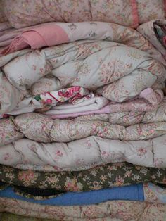 Vintage – Soft and comfy. Love these old eiderdowns. A sweet memory of cold winter nights, long before duvets !
