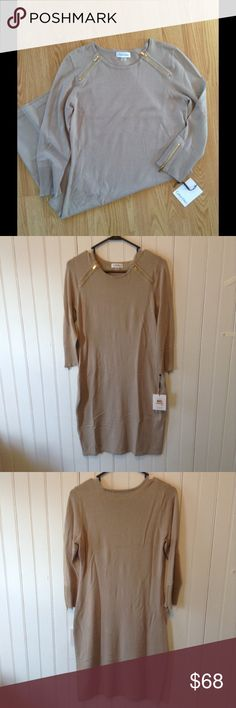 Calvin Klein Sweater Dress Mid-length, with 3/4 length sleeves. Never worn, new with tags. Calvin Klein Dresses Long Sleeve