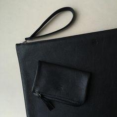 Mini&Maxi black calf clutch#ateliersaintloup #customatelierstloup